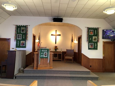 Church Sanctuary with banners